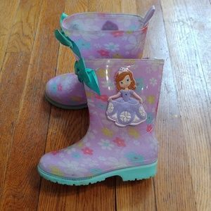 Girls size 7 Sophia the first rain boots